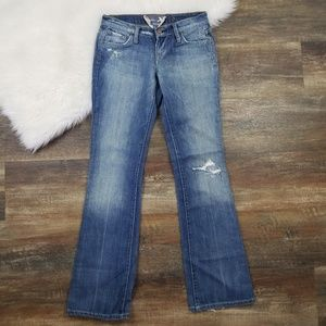 Anthro Freedom Of Choice Boot Cut Distressed Jeans